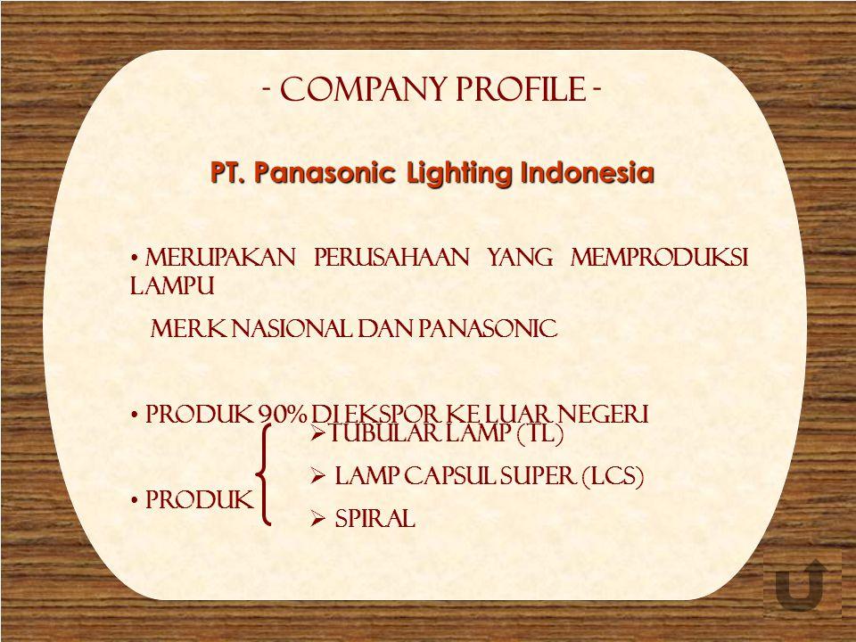 Company profile - Company Profile - Merupakan perusahaan yang memproduksi lampu merk Nasional dan Panasonic Produk 90% di ekspor ke luar negeri Produk