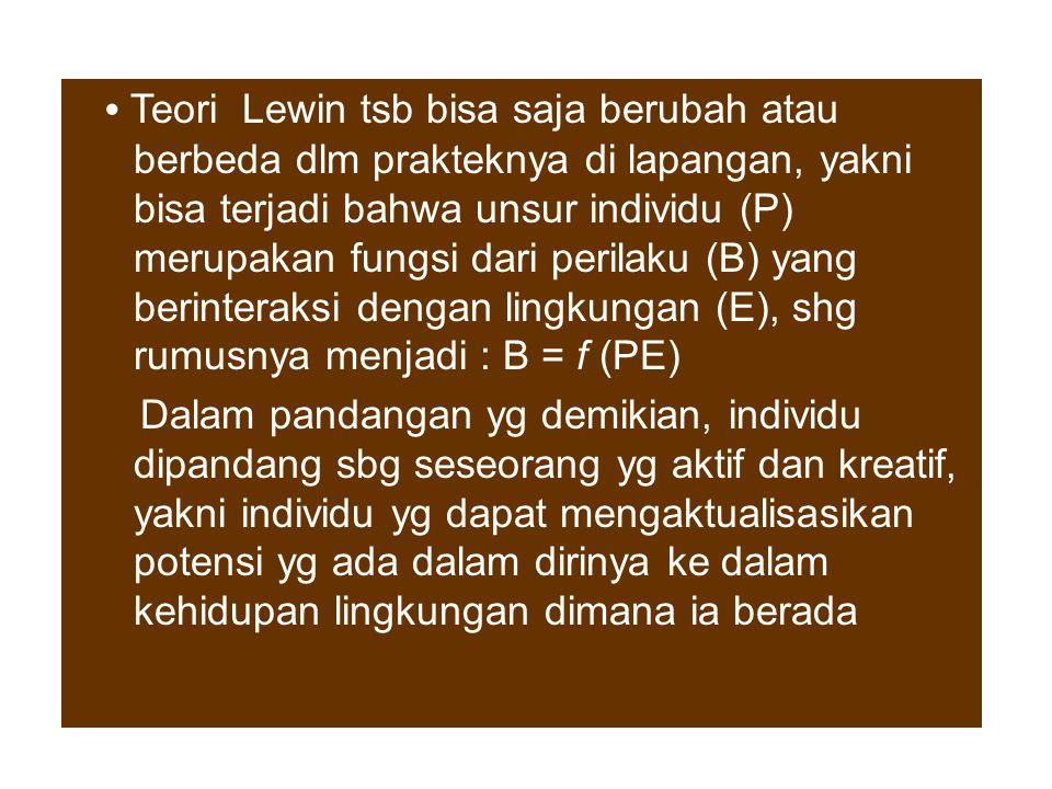 """Berdasarkan teori Lewin : B = f (P+E), dapat diartikan bahwa perilaku sebagai satu variabel keberadaannya ditentukan oleh variabel lain yakni """"diri"""" ("""
