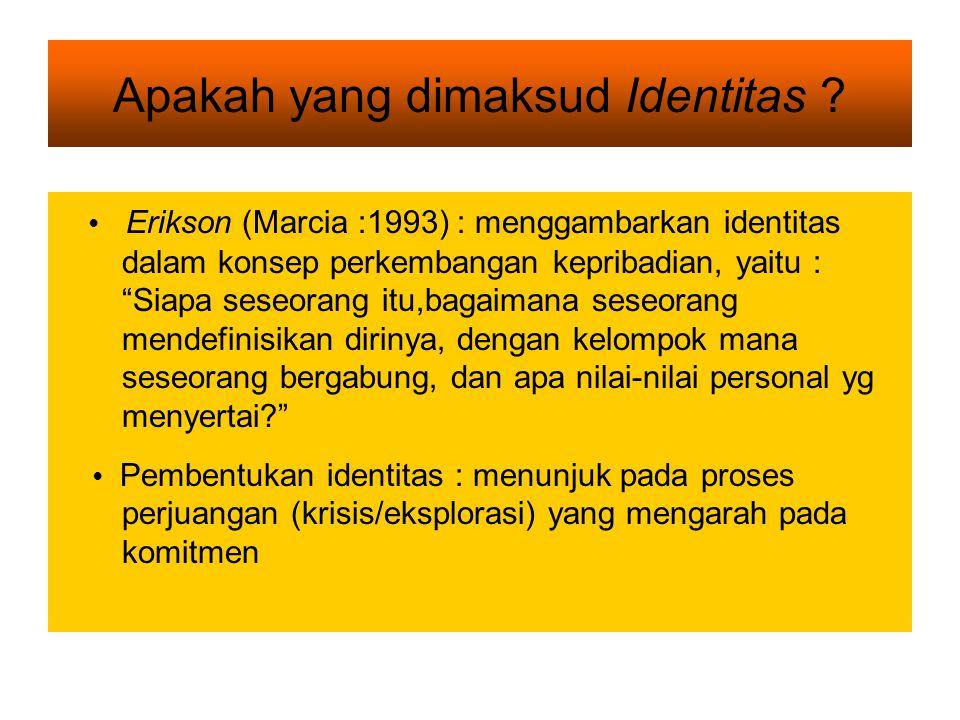 TAHAP PERKEMBANGAN REMAJA (Pembentukan Identitas) m a s a t r a n s i s i diharapkan dapat membentuk identitas