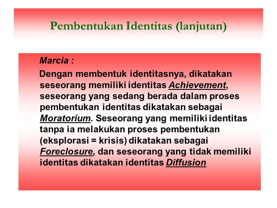 """Apakah yang dimaksud Identitas ? Erikson (Marcia :1993) : menggambarkan identitas dalam konsep perkembangan kepribadian, yaitu : """"Siapa seseorang itu,"""
