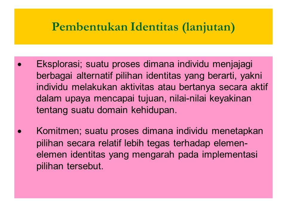 Pembentukan Identitas (lanjutan) Marcia : Dengan membentuk identitasnya, dikatakan seseorang memiliki identitas Achievement, seseorang yang sedang ber