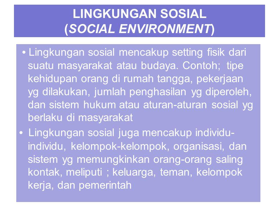 LINGKUNGAN SOSIAL (SOCIAL ENVIRONMENT) Lingkungan sosial mencakup setting fisik dari suatu masyarakat atau budaya.