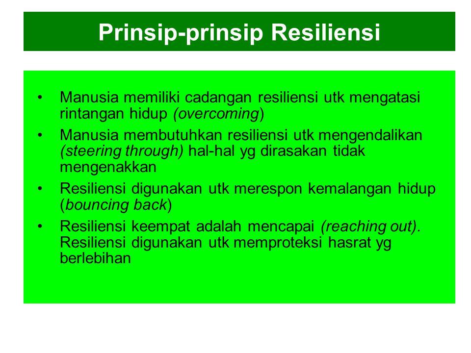 """Resiliensi Perkembangan kehidupan manusia dalam setiap tahapan memiliki apa yg disebut """"Resiliensi"""" (daya lenting/daya tahan) Karen Reivich & Andrew S"""