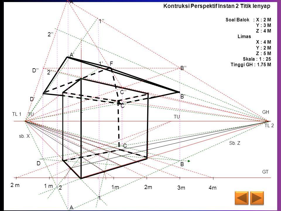 GT GH TL 1 TL 2 sb. X Sb. Z Sb.Y 1m 2m 3m 4m 1 m 2 m TU Kontruksi Perspektif Instan 2 Titik lenyap Soal Balok : X : 2 M Y : 3 M Z : 4 M Limas X : 2 M
