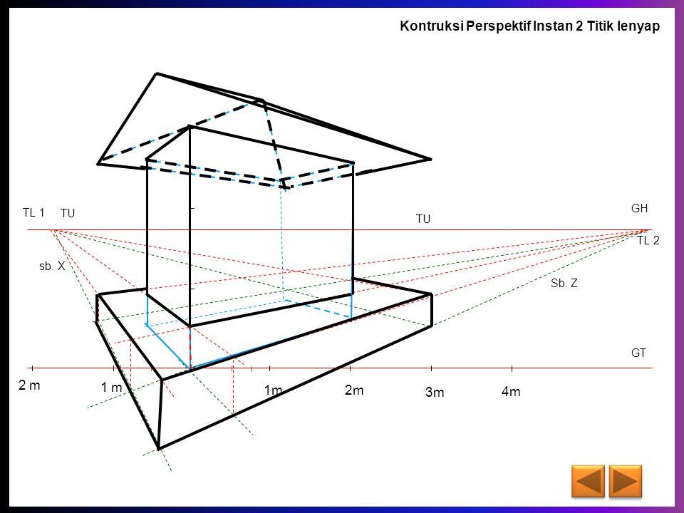GT GH TL 1 TL 2 sb. X Sb. Z 1m 2m 3m 4m 1 m 2 m TU A 1 2 B C D A' B' D' C' 1' 2' 1'' 2'' A'' B'' D'' C'' F Kontruksi Perspektif Instan 2 Titik lenyap