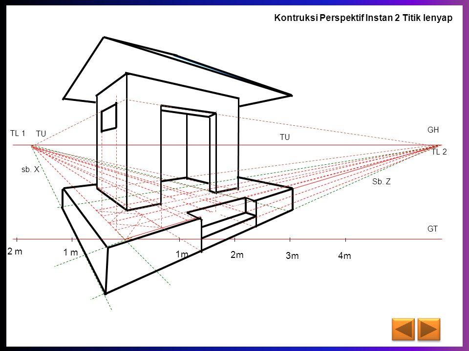 GT GH TL 1 TL 2 sb. X Sb. Z 1m 2m 3m 4m 1 m 2 m TU Kontruksi Perspektif Instan 2 Titik lenyap