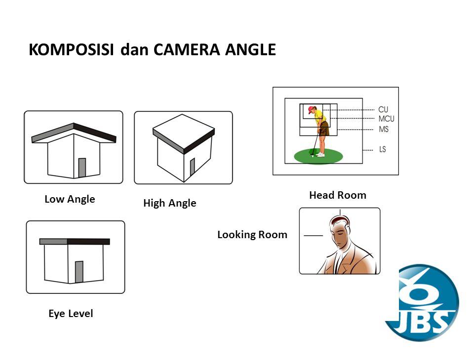 KOMPOSISI dan CAMERA ANGLE Low Angle High Angle Eye Level Head Room Looking Room