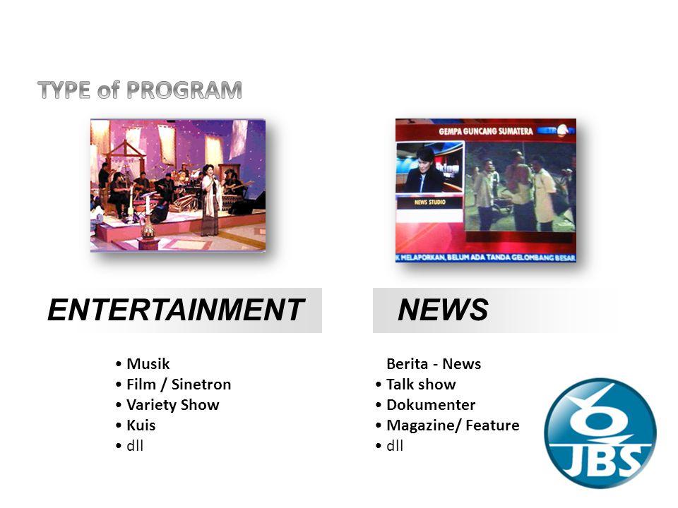 ENTERTAINMENTNEWS Musik Film / Sinetron Variety Show Kuis dll Berita - News Talk show Dokumenter Magazine/ Feature dll