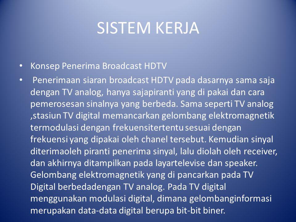 SISTEM KERJA Konsep Penerima Broadcast HDTV Penerimaan siaran broadcast HDTV pada dasarnya sama saja dengan TV analog, hanya sajapiranti yang di pakai dan cara pemerosesan sinalnya yang berbeda.
