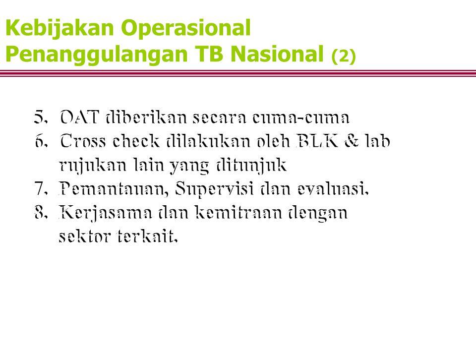 Kebijakan Operasional Penanggulangan TB Nasional (2) 5. OAT diberikan secara cuma-cuma 6. Cross check dilakukan oleh BLK & lab rujukan lain yang ditun