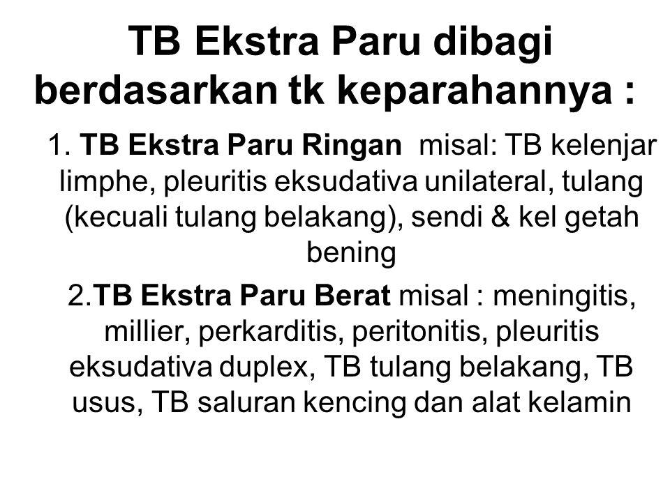TB Ekstra Paru dibagi berdasarkan tk keparahannya : 1. TB Ekstra Paru Ringan misal: TB kelenjar limphe, pleuritis eksudativa unilateral, tulang (kecua