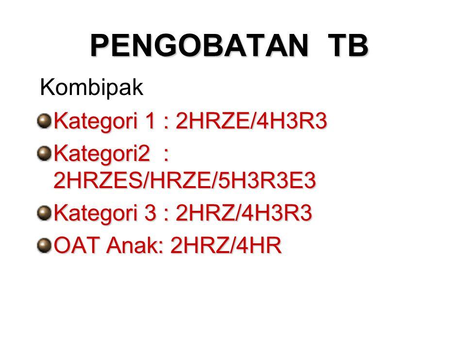 PENGOBATAN TB Kategori 1 : 2HRZE/4H3R3 Kategori2 : 2HRZES/HRZE/5H3R3E3 Kategori 3 : 2HRZ/4H3R3 OAT Anak: 2HRZ/4HR Kombipak