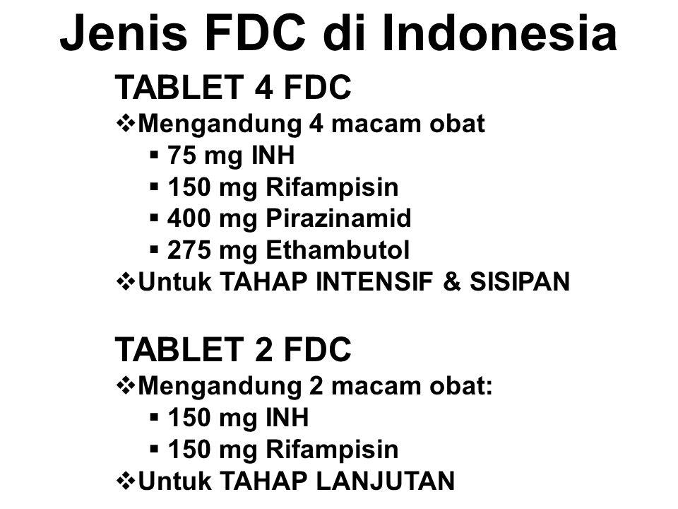 Jenis FDC di Indonesia TABLET 4 FDC  Mengandung 4 macam obat  75 mg INH  150 mg Rifampisin  400 mg Pirazinamid  275 mg Ethambutol  Untuk TAHAP I