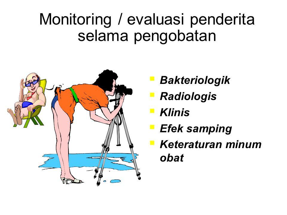 Monitoring / evaluasi penderita selama pengobatan  Bakteriologik  Radiologis  Klinis  Efek samping  Keteraturan minum obat