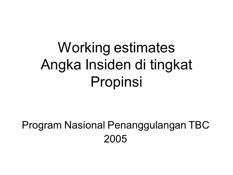 Working estimates Angka Insiden di tingkat Propinsi Program Nasional Penanggulangan TBC 2005