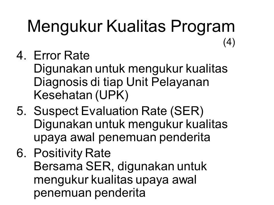 4.Error Rate Digunakan untuk mengukur kualitas Diagnosis di tiap Unit Pelayanan Kesehatan (UPK) 5.Suspect Evaluation Rate (SER) Digunakan untuk menguk