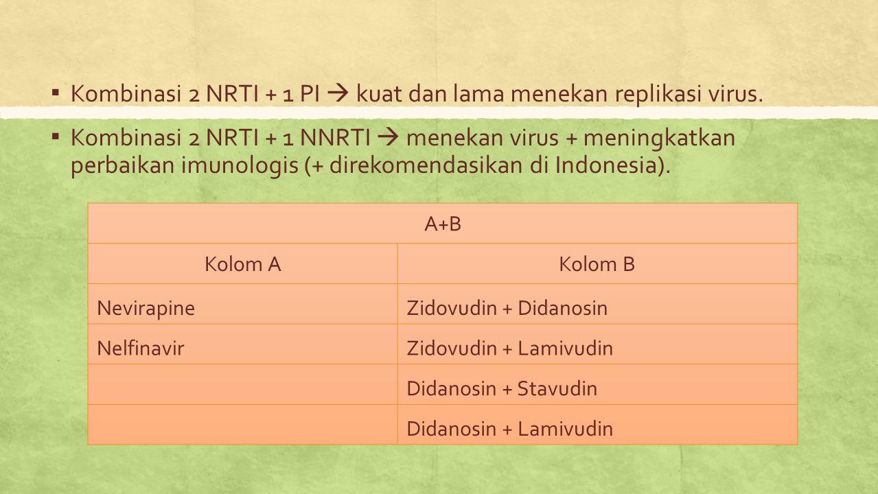 ▪ Kombinasi 2 NRTI + 1 PI  kuat dan lama menekan replikasi virus. ▪ Kombinasi 2 NRTI + 1 NNRTI  menekan virus + meningkatkan perbaikan imunologis (+
