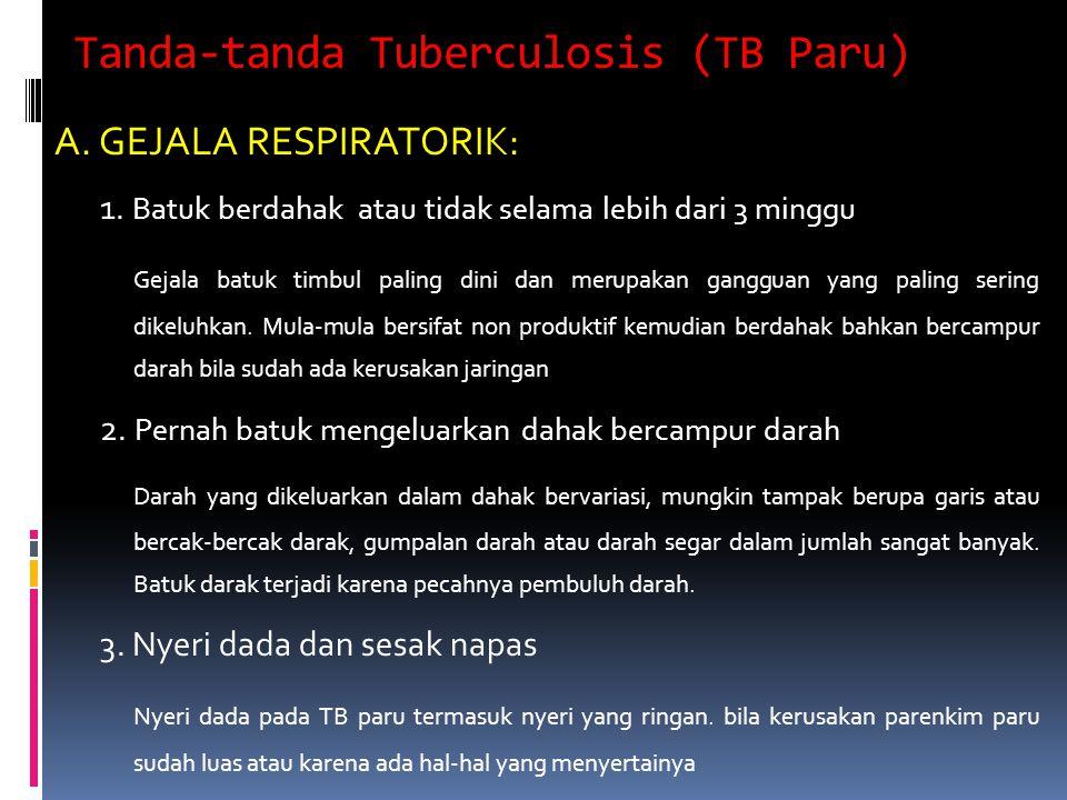 Tanda-tanda Tuberculosis (TB Paru) A. GEJALA RESPIRATORIK: 1. Batuk berdahak atau tidak selama lebih dari 3 minggu Gejala batuk timbul paling dini dan