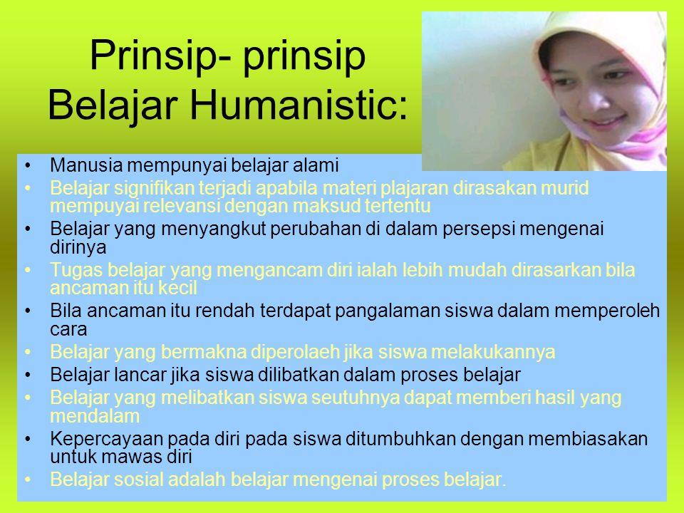 Prinsip- prinsip Belajar Humanistic: Manusia mempunyai belajar alami Belajar signifikan terjadi apabila materi plajaran dirasakan murid mempuyai relev