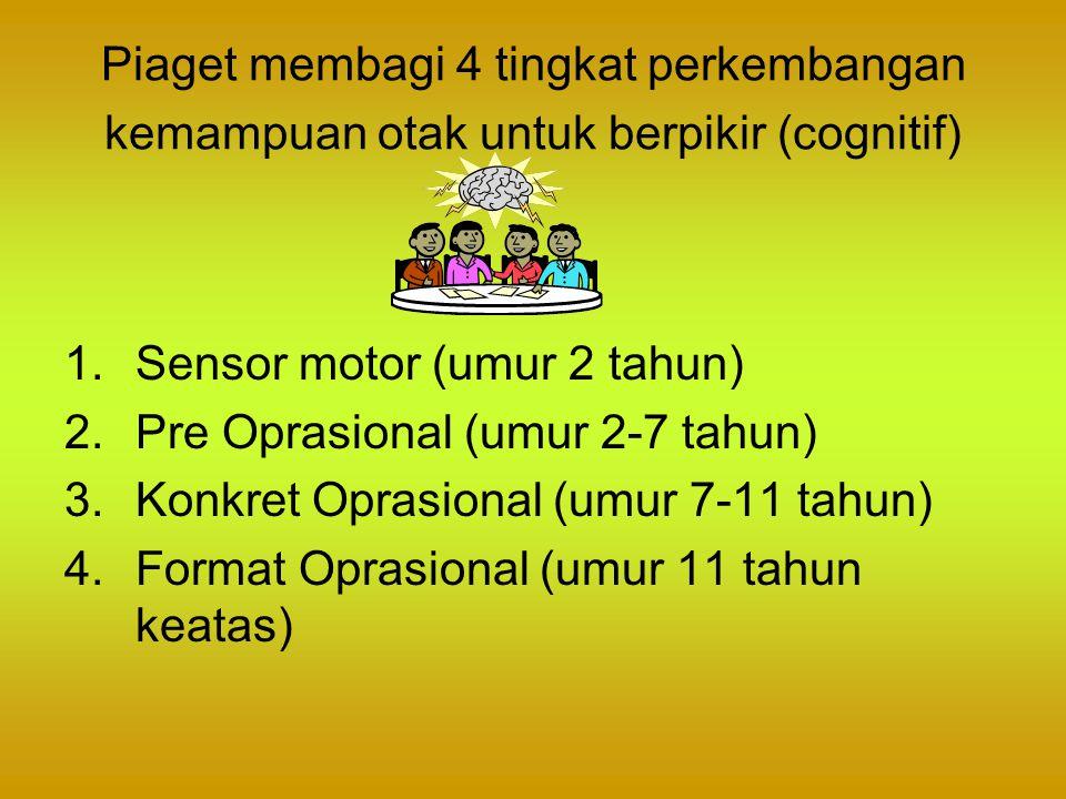 Piaget membagi 4 tingkat perkembangan kemampuan otak untuk berpikir (cognitif) 1.Sensor motor (umur 2 tahun) 2.Pre Oprasional (umur 2-7 tahun) 3.Konkr