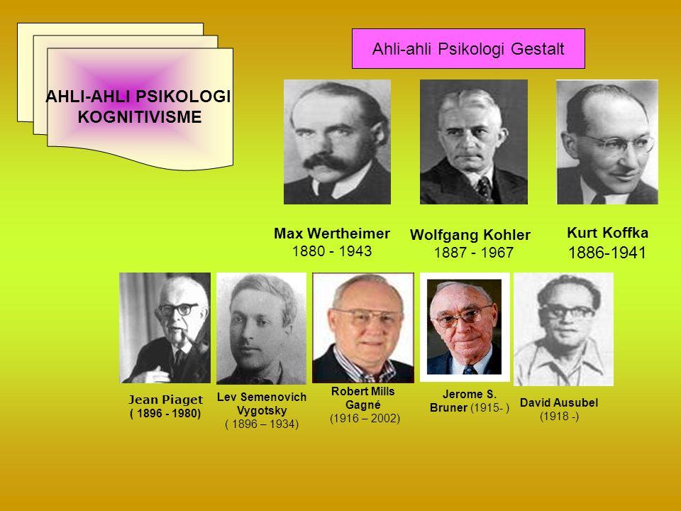 Max Wertheimer 1880 - 1943 Wolfgang Kohler 1887 - 1967 Kurt Koffka 1886-1941 AHLI-AHLI PSIKOLOGI KOGNITIVISME Ahli-ahli Psikologi Gestalt Jean Piaget