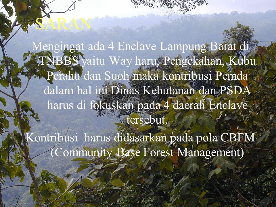 Mengingat ada 4 Enclave Lampung Barat di TNBBS yaitu Way haru, Pengekahan, Kubu Perahu dan Suoh maka kontribusi Pemda dalam hal ini Dinas Kehutanan dan PSDA harus di fokuskan pada 4 daerah Enclave tersebut.