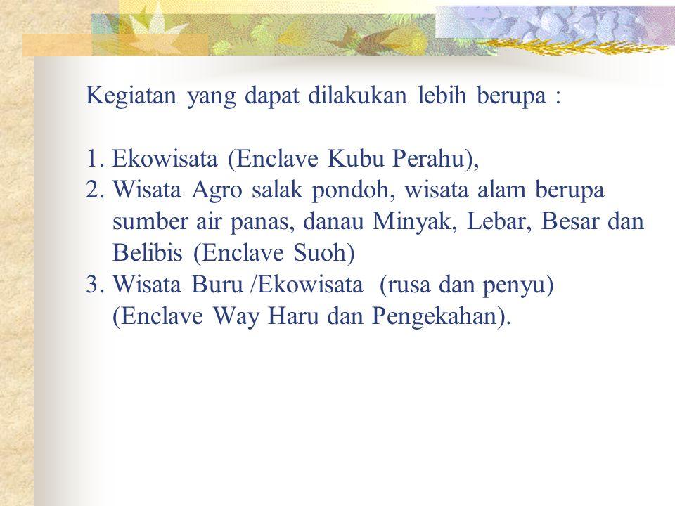 Mengingat ada 4 Enclave Lampung Barat di TNBBS yaitu Way haru, Pengekahan, Kubu Perahu dan Suoh maka kontribusi Pemda dalam hal ini Dinas Kehutanan da