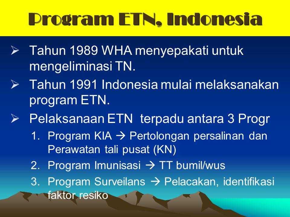 Program ETN, Indonesia  Tahun 1989 WHA menyepakati untuk mengeliminasi TN.  Tahun 1991 Indonesia mulai melaksanakan program ETN.  Pelaksanaan ETN t