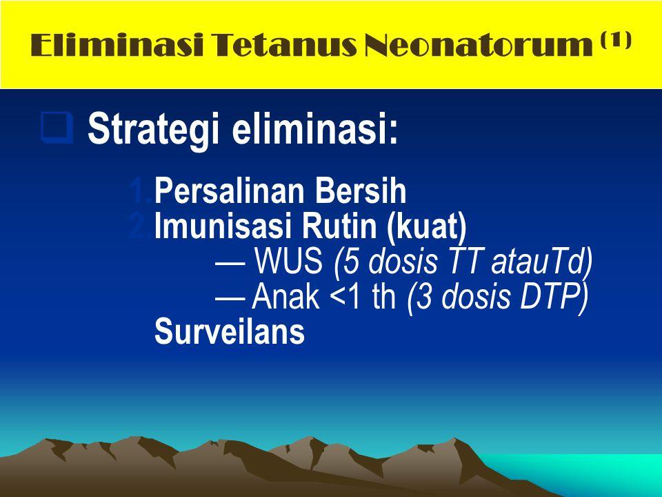 Strategi eliminasi: 1.Persalinan Bersih 2. Imunisasi Rutin (kuat) — WUS (5 dosis TT atauTd) — Anak <1 th (3 dosis DTP) 3.Surveilans Eliminasi Tetanu