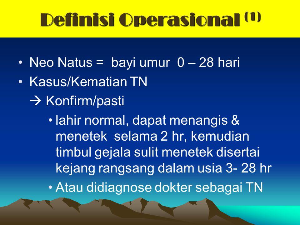 Definisi Operasional (1) Neo Natus = bayi umur 0 – 28 hari Kasus/Kematian TN  Konfirm/pasti lahir normal, dapat menangis & menetek selama 2 hr, kemud
