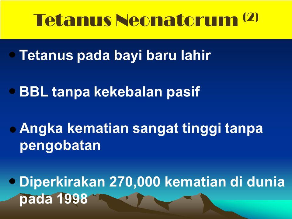 Tetanus pada bayi baru lahir BBL tanpa kekebalan pasif Angka kematian sangat tinggi tanpa pengobatan Diperkirakan 270,000 kematian di dunia pada 1998