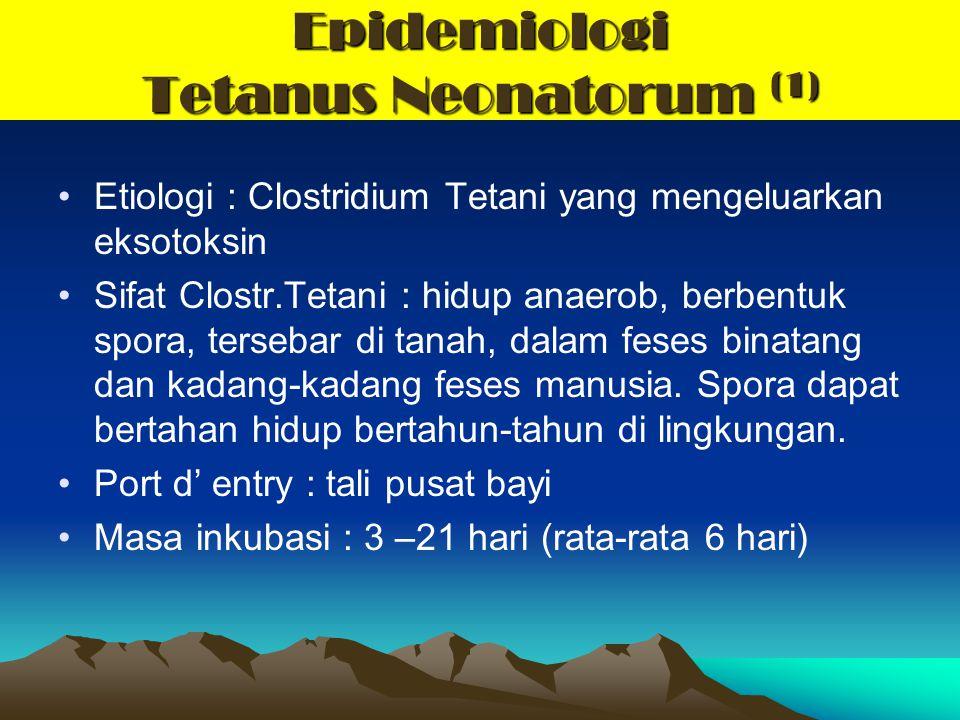 Epidemiologi Tetanus Neonatorum (1) Etiologi : Clostridium Tetani yang mengeluarkan eksotoksin Sifat Clostr.Tetani : hidup anaerob, berbentuk spora, t