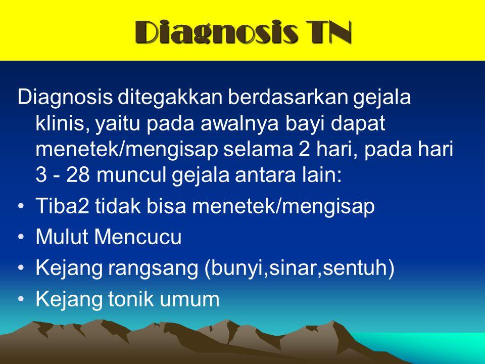 Diagnosis TN Diagnosis ditegakkan berdasarkan gejala klinis, yaitu pada awalnya bayi dapat menetek/mengisap selama 2 hari, pada hari 3 - 28 muncul gej