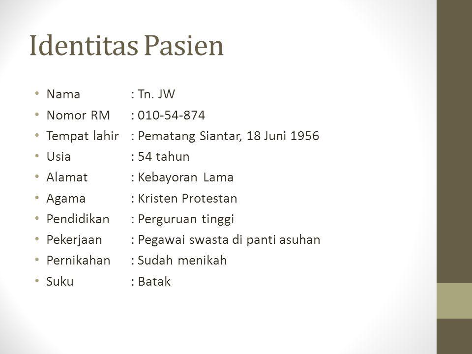 Keluhan Utama (data diperoleh dari autoanamnesis pada tanggal 27 September 2012 di Klinik Amaryllis RSU Fatmawati) Datang untuk kontrol karena masih merasa cemas meskipun telah minum obat anticemas.