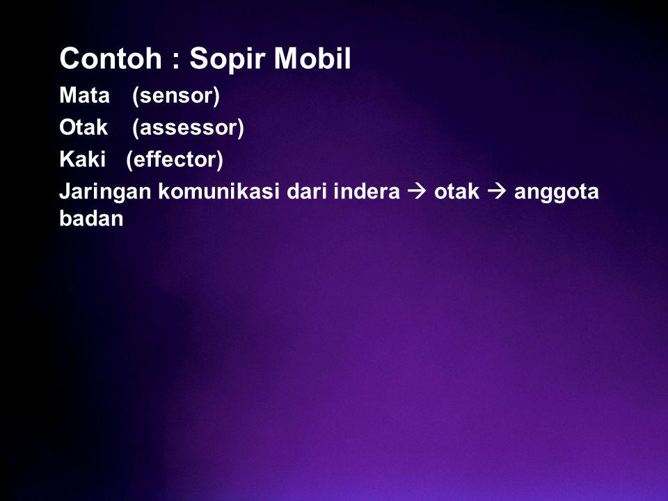 Contoh : Sopir Mobil Mata (sensor) Otak (assessor) Kaki (effector) Jaringan komunikasi dari indera  otak  anggota badan