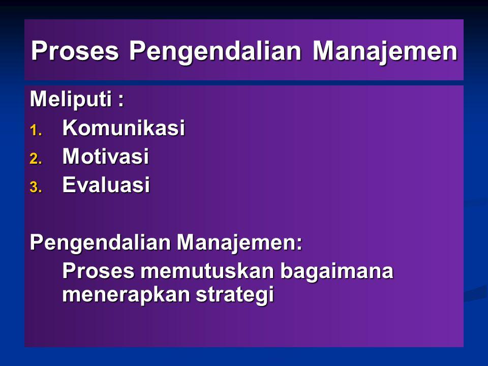 Proses Pengendalian Manajemen Meliputi : 1. Komunikasi 2. Motivasi 3. Evaluasi Pengendalian Manajemen: Proses memutuskan bagaimana menerapkan strategi