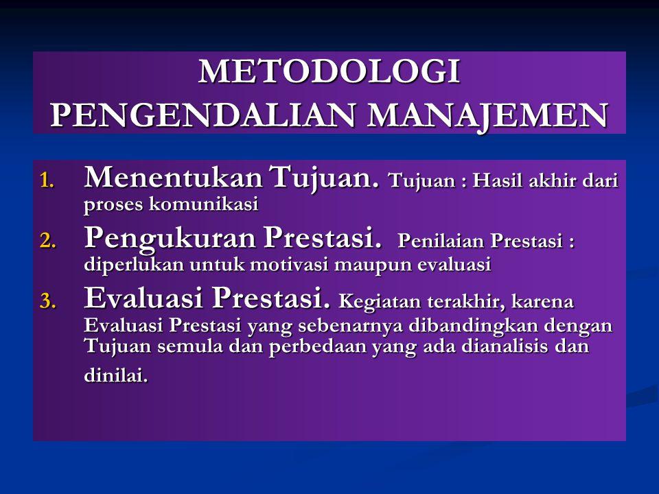 METODOLOGI PENGENDALIAN MANAJEMEN 1. Menentukan Tujuan. Tujuan : Hasil akhir dari proses komunikasi 2. Pengukuran Prestasi. Penilaian Prestasi : diper