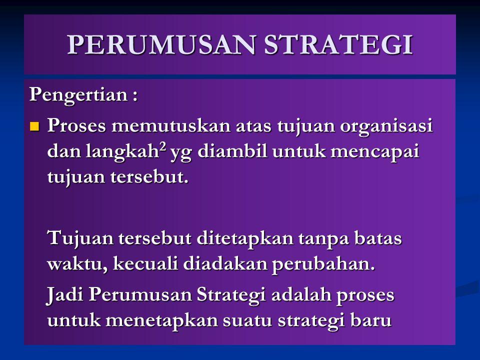 PERUMUSAN STRATEGI Pengertian : Proses memutuskan atas tujuan organisasi dan langkah 2 yg diambil untuk mencapai tujuan tersebut. Proses memutuskan at