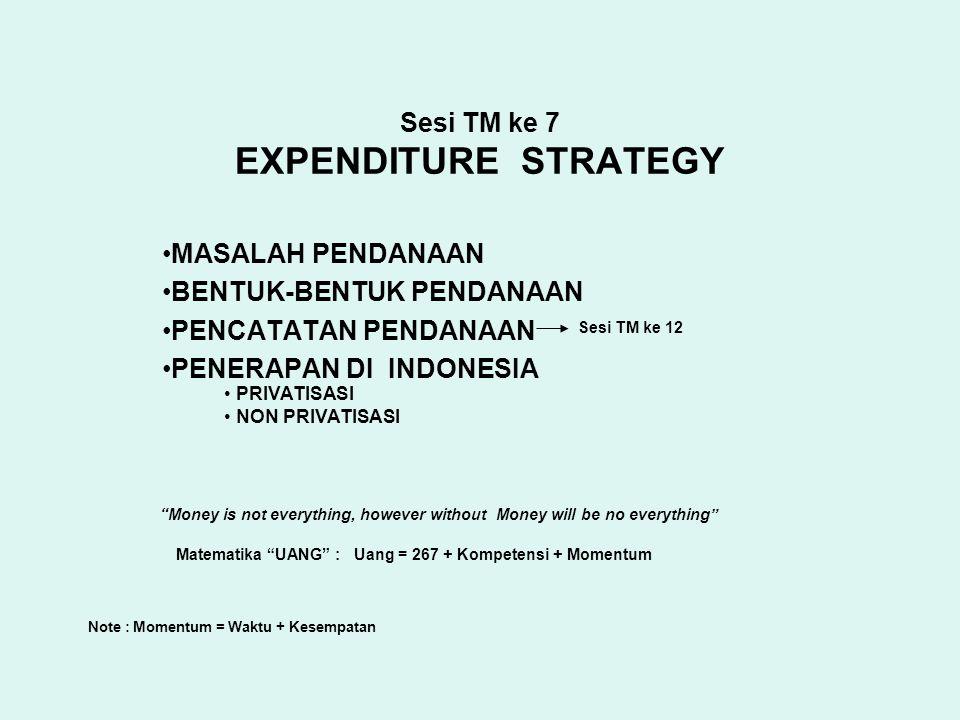 Sesi TM ke 7 EXPENDITURE STRATEGY MASALAH PENDANAAN BENTUK-BENTUK PENDANAAN PENCATATAN PENDANAAN PENERAPAN DI INDONESIA Sesi TM ke 12 PRIVATISASI NON