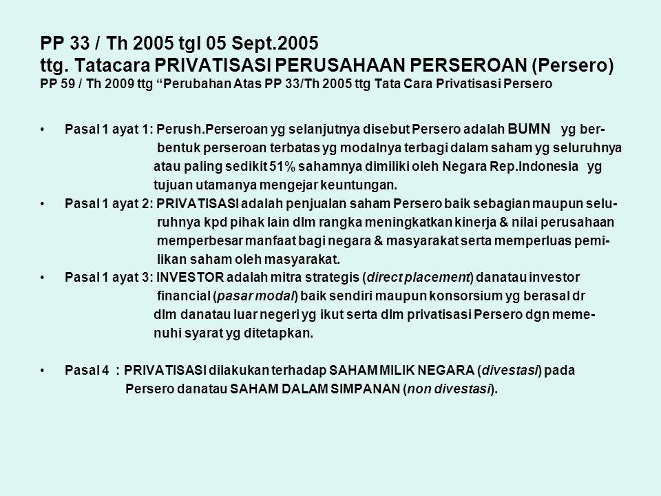 """PP 33 / Th 2005 tgl 05 Sept.2005 ttg. Tatacara PRIVATISASI PERUSAHAAN PERSEROAN (Persero) PP 59 / Th 2009 ttg """"Perubahan Atas PP 33/Th 2005 ttg Tata C"""