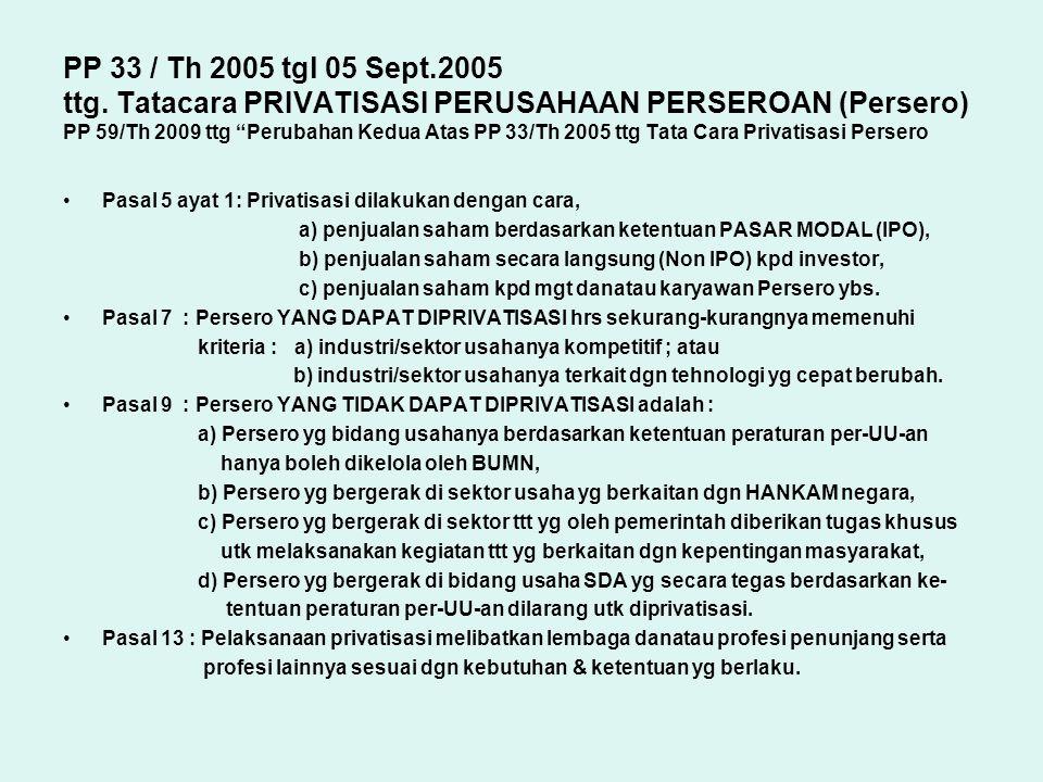 """PP 33 / Th 2005 tgl 05 Sept.2005 ttg. Tatacara PRIVATISASI PERUSAHAAN PERSEROAN (Persero) PP 59/Th 2009 ttg """"Perubahan Kedua Atas PP 33/Th 2005 ttg Ta"""