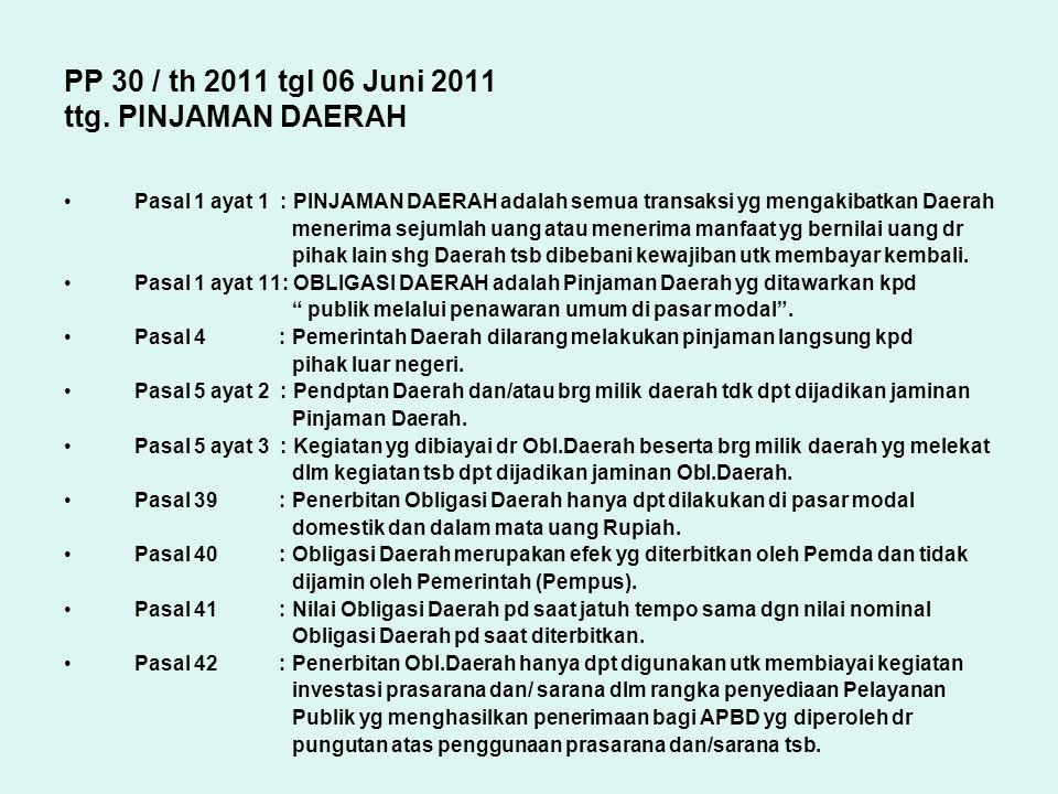 PP 30 / th 2011 tgl 06 Juni 2011 ttg. PINJAMAN DAERAH Pasal 1 ayat 1 : PINJAMAN DAERAH adalah semua transaksi yg mengakibatkan Daerah menerima sejumla