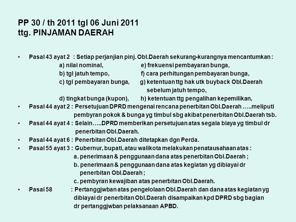 PP 30 / th 2011 tgl 06 Juni 2011 ttg. PINJAMAN DAERAH Pasal 43 ayat 2 : Setiap perjanjian pinj. Obl.Daerah sekurang-kurangnya mencantumkan : a) nilai