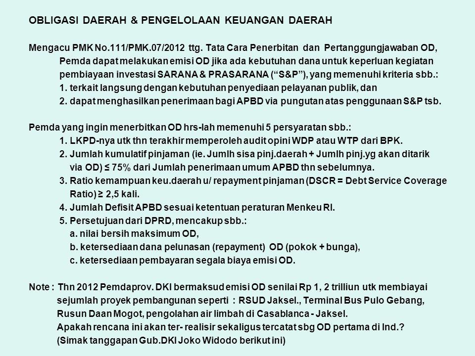 OBLIGASI DAERAH & PENGELOLAAN KEUANGAN DAERAH Mengacu PMK No.111/PMK.07/2012 ttg. Tata Cara Penerbitan dan Pertanggungjawaban OD, Pemda dapat melakuka