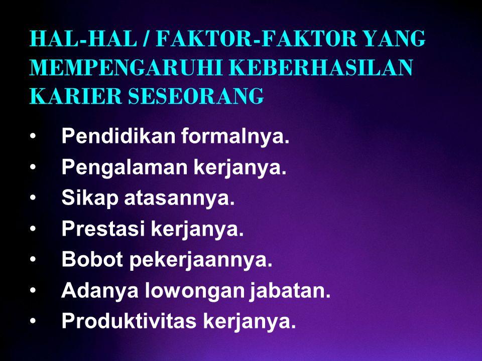 HAL-HAL / FAKTOR-FAKTOR YANG MEMPENGARUHI KEBERHASILAN KARIER SESEORANG Pendidikan formalnya. Pengalaman kerjanya. Sikap atasannya. Prestasi kerjanya.