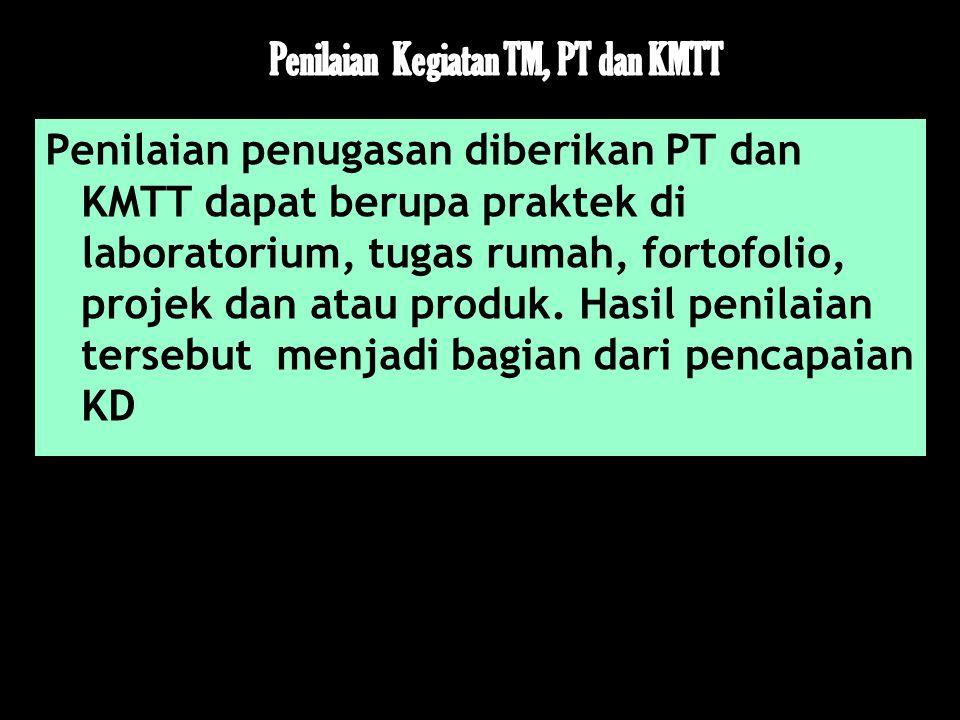 Penilaian penugasan diberikan PT dan KMTT dapat berupa praktek di laboratorium, tugas rumah, fortofolio, projek dan atau produk. Hasil penilaian terse