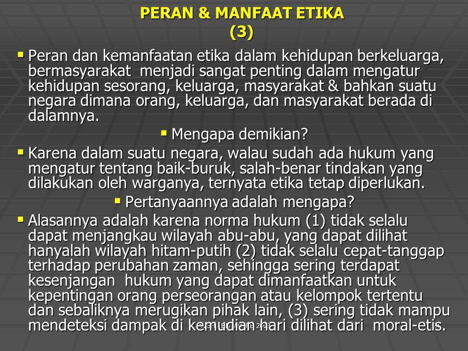 AVSH - EB MM IPB 200924 PERAN & MANFAAT ETIKA (3)  Peran dan kemanfaatan etika dalam kehidupan berkeluarga, bermasyarakat menjadi sangat penting dala