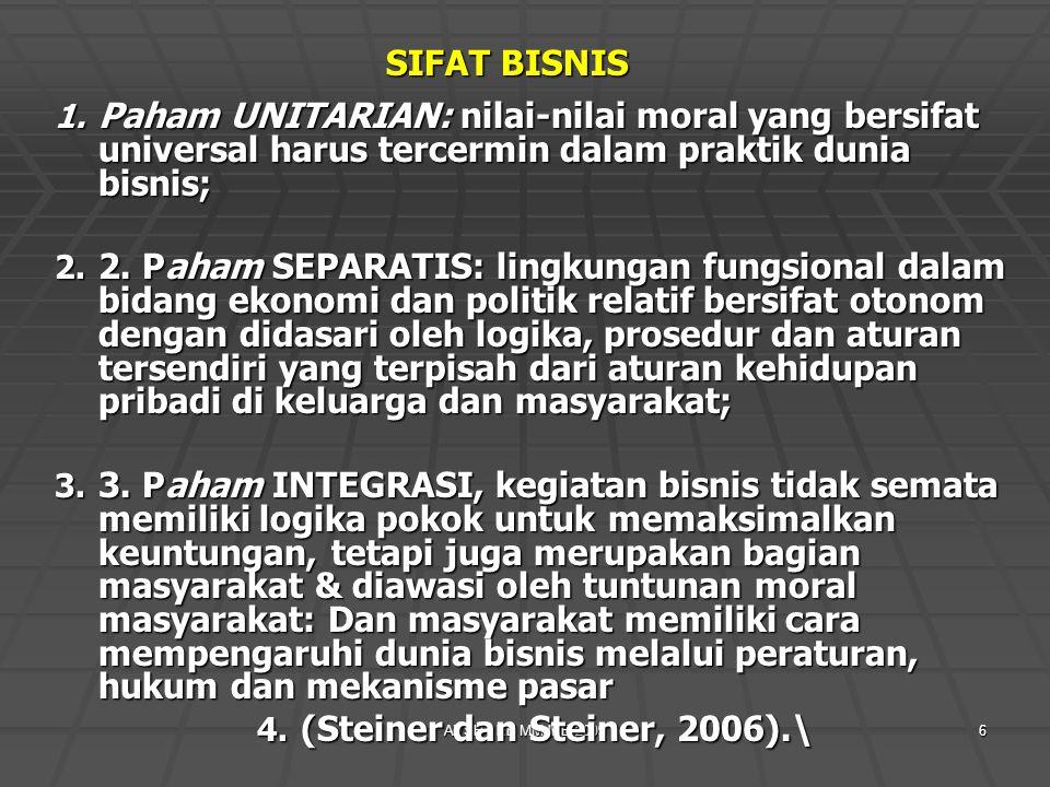 AVSH - EB MM IPB 20096 SIFAT BISNIS 1. Paham UNITARIAN: nilai-nilai moral yang bersifat universal harus tercermin dalam praktik dunia bisnis; 2. 2. Pa