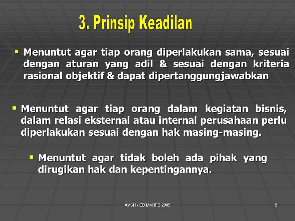 AVSH - EB MM IPB 20099  Menuntut agar tiap orang diperlakukan sama, sesuai dengan aturan yang adil & sesuai dengan kriteria rasional objektif & dapat
