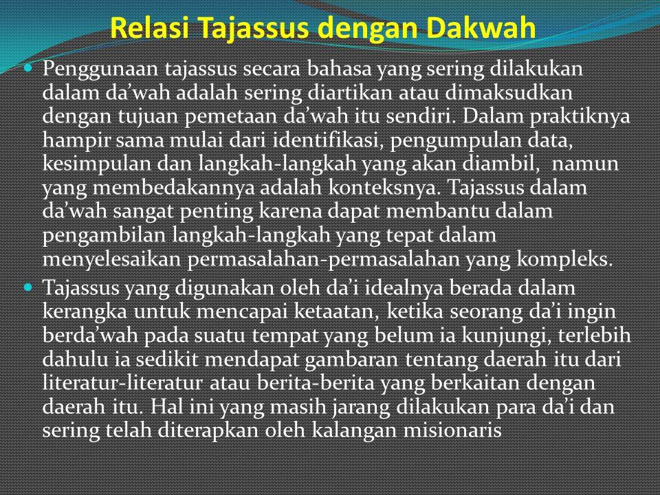 Relasi Tajassus dengan Dakwah Penggunaan tajassus secara bahasa yang sering dilakukan dalam da'wah adalah sering diartikan atau dimaksudkan dengan tuj